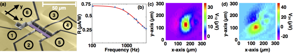 (a) SEM image of the TaAs (purple) device, Au contacts (yellow) are numbered and the alignment is shown by the axis. (b) Photocurrent vs. chopper frequency, fit56,67 revealing a τth = 6.8 μs. Photovoltage sign change due to the Seebeck effect, aligned with the leads (c) longitudinal and (d) Hall.